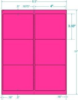Compulabel Fluorescent Pink Address Labels for Laser Printers, 4 x 3 1/3 Inch, Permanent Adhesive, 6 per Sheet, 100 Sheets per Carton : All Purpose Labels : Office Products
