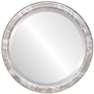 Modern wood Round Beveled Wall Mirror in a ilver Toronto style Champagne Silver Frame 16x16 outside dimensions   Wall Mounted Mirrors