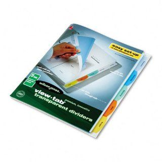 View Tab Transparent Index Dividers, 5 Tab, Square, Letter, Assorted, 5/Set : Office Products