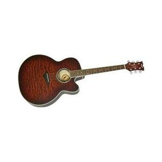 Dean JC QM TGE Quilt Maple Jumbo Acoustic Electric Guitar Tiger Eye Finish Musical Instruments