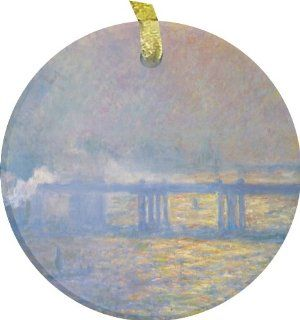 Rikki KnightTM Claude Monet Art Charing Cross BridgeBevelled Glass Ornament   Decorative Hanging Ornaments