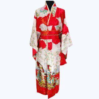 Shanghai Tone� Style Geisha Luxury Dress Kimono Robe Red One Size: Toys & Games