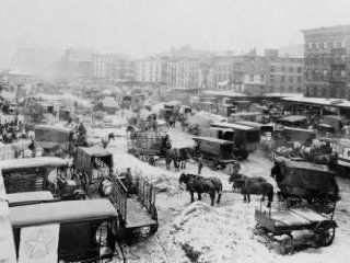 c1920 photo Horse drawn wagons and trucks probably delivering goods to market d7