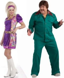 Funky Time 60's Dress & 70's Leisure Suit  Costume Set   Medium/Plus Size: One Size: Clothing