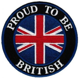Proud To Be British Embroidered Patch English Union Jack Flag Iron On UK Biker Emblem: Clothing