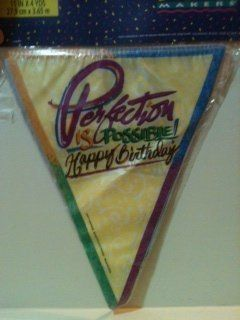 """Perfection is Possible Happy Birthday"" Flag Banner 11 inch x 4 yards: Health & Personal Care"