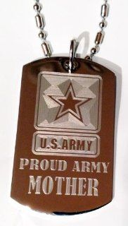 "United States Army Armed Forces ""Proud Army Mom"" Engraved Star Logo Symbols   Military Dog Tag Luggage Tag Key Chain Metal Chain Necklace: Pet Supplies"