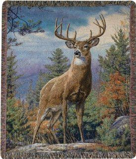 """""""Standing Proud"""" 10 Point Buck Print Tapestry Throw Blanket 50"""" X 60""""   Mountain Tapestry Throw Blanket"""