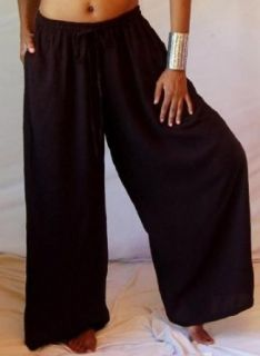 Lotustraders Culotte Pant Wide Leg Elastic Waist Drawstring 2X 3X 4X Black Z289S Clothing
