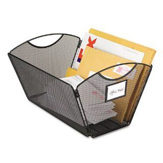 "Safco Products   OnyxTM Mesh Desktop Tub File, Legal Size   2163BL   Color: Black   Dimensions: 15 1/4""w x 13 3/4""d x 9 1/2""h   Material: Steel Mesh   Customize how you organize! Portable filing. Project filing. Mail tote. Personal recycle b"