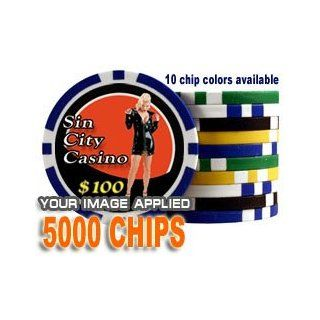Custom Poker Chips: Put your image, Promotional Logo, or Design on a chip   5, 000 Full Color 11.5 gram poker chips : Poker Sets : Sports & Outdoors