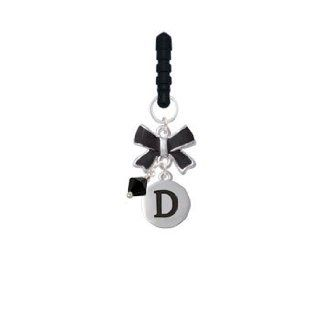 Capital Silver Letter   D   Pebble Disc   Black Emma Bow Phone Candy Charm: Cell Phones & Accessories