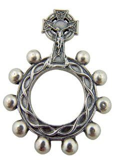 Silver Tone Irish Celtic Cross Crucifix Crown of Thorns 1 3/4 inch One Decade Rosary Ring: Pendants: Jewelry