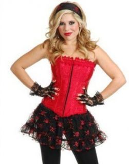 Women's Sexy Pirate Cowgirl Dominatrix Red Lace Corset: Adult Exotic Costumes: Clothing