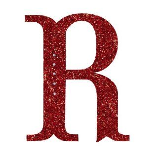 Grasslands Road 6 1/2 Inch Glitter Red Monogram Initial Ornament with Metallic Red Cord Hanger, Letter R   Decorative Hanging Ornaments