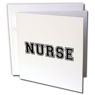 gc_151235_1 InspirationzStore Typography   Nurse in preppy retro black college font on white   proud nursing school graduate   nurses day gifts   Greeting Cards 6 Greeting Cards with envelopes  Blank Greeting Cards