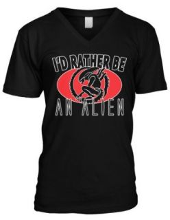 Id Rather Be An Alien Scifi Extraterrestrial Invasion Paul Mens V neck T shirt: Clothing