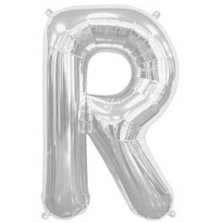 16 inch Letter R   Silver Air Filled Foil Balloon: Toys & Games
