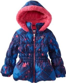 Big Chill Girls Colorful Warm Paint Splatter Puffer Winter Jacket Coat 4 Navy: Clothing