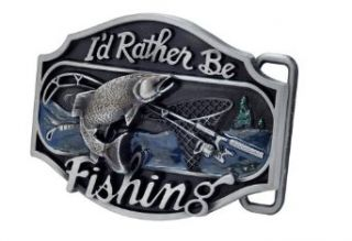 Buckle Rage I'd Rather be Fishing Metal Belt Buckle Redneck Western Sport Bass Silver One Size: Clothing