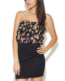 Wet Seal Women's 2fer Floral Tube Bodycon Dress XS Multi Colored