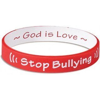 Stop Bullying Wrist Band Silicone Bracelet Reversible God is Love  Red and White  Childrens Pretend Play Bracelets  Sports & Outdoors
