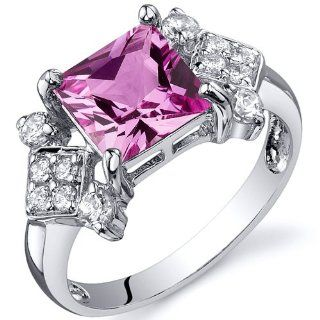 Princess Cut 2.25 carats Created Pink Sapphire Cubic Zirconia Ring in Sterling Silver Rhodium Nickel Finish Available in Sizes 5 thru 9: Peora: Jewelry