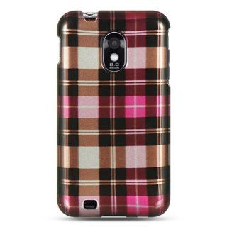 VMG Sprint Samsung Galaxy S II S2 Design Hard 2 Pc Case   Pink Brown Checkere Plaid Design Hard 2 Pc Plastic Snap On Case Cover for Sprint Samsung Galaxy S II S2 Epic 4G Touch [SPRINT MODEL ONLY] Cell Phone