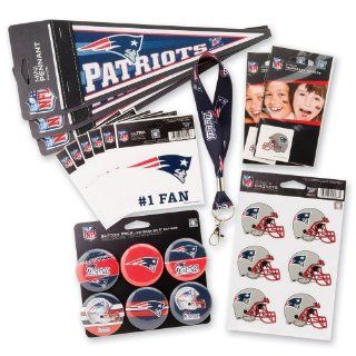 New England Patriots Fan Pack   Tattoos Decals Buttons Lanyards Magnets & Pennants   Football Tailgating Party Supplies   30 items per pack : Sports Related Tailgating Fan Packs : Sports & Outdoors