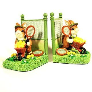 Tennis Rabbit Bookends : Sports Related Collectibles : Sports & Outdoors