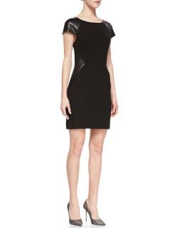 Womens Eliana Sheath Dress with Leatherette Panels   Erin Fetherston   Black