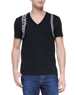 Mens Skeleton Harness V Neck Tee, Black   Alexander McQueen   Black (XX LARGE)