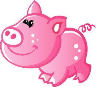 Children's Wall Decals   Cute Baby Pink Cartoon Pig   12 inch Removable Graphics (4 same)   Prints