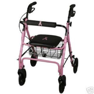 PINK (Breast Cancer Awareness), Medline Deluxe Folding Rollator Rolling Walker $10.00 of purchase price is donated to Breast Cancer Research.: Health & Personal Care