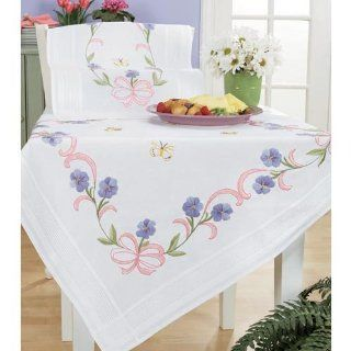 Violet Bows Table Topper & Runner Stamped Embroidery Kit   Stamped Cross Stitch Kits