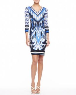 Womens 3/4 Sleeve Ikat Print Jersey Dress, Blue   Roberto Cavalli   Chikan