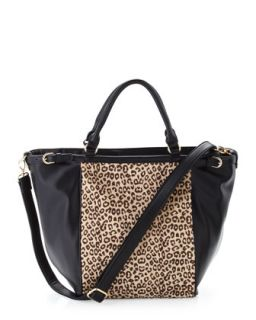 Cheetah Print Faux Calf Hair Tote Bag, Black   Adrienne Landau