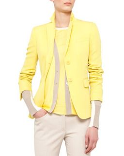 Womens Fitted Techno Wool Blazer   Akris punto   Vivid yellow (2)