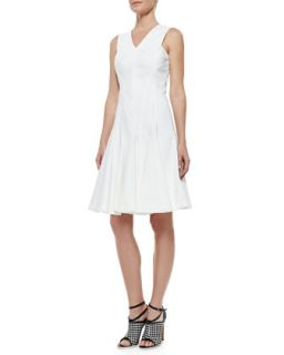 Womens Stretch Cotton Peplum A Line Dress, White   Derek Lam   White (44)
