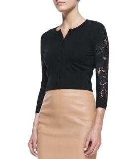 Womens Doris Cropped Lace Sleeve Cardigan   Diane von Furstenberg