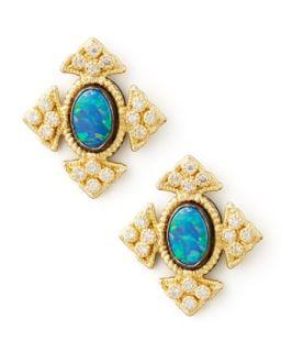 18k Gold Cravelli Cross Opal Stud Earrings   Armenta   Gold (18k )