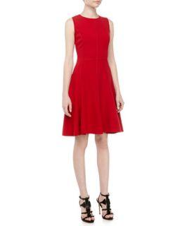 Womens Exposed Seam Fit And Flare Dress, Crimson   Halston Heritage   Crimson