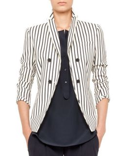 Womens Striped Double Breasted Blazer   Akris punto   Cream navy (10)