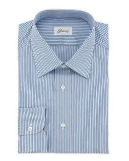 Mens Striped Cotton Dress Shirt, French Blue   Brioni   Blue (15 1/2R)