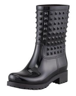 Rockstud Rubber Rain Boot   Valentino   Nero (35.0B/5.0B)