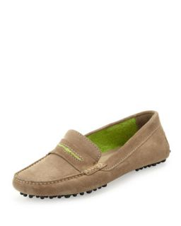 Terry Trimmed Suede Driver, Taupe/Lime   Manolo Blahnik   Taupe/Lime (36.5B/6.