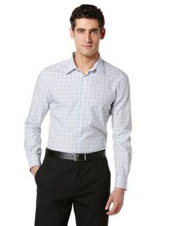 Perry Ellis Mens Double Line Check Shirt