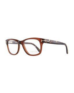 Mens Acetate Fashion Glasses, Brown   Tom Ford   Brown