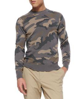 Mens Camo Cashmere Crewneck Sweater, Beige/Gray   Valentino   Beige/Grey