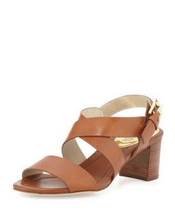 Maria Leather City Sandal   MICHAEL Michael Kors   Luggage (38.5B/8.5B)